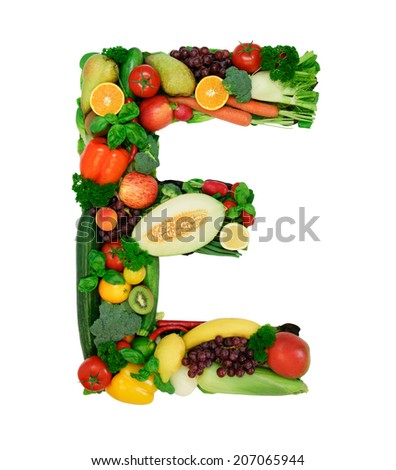 Letter made from fresh vegetables a fruits isolated on white background