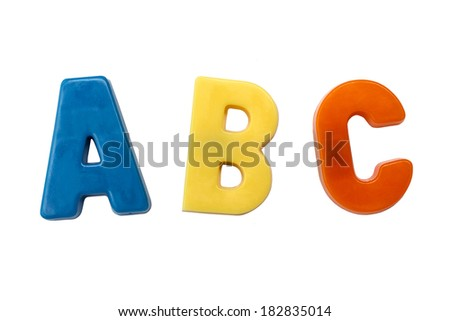 Letter magnets A B C isolated on white - stock photo
