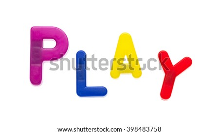Letter magnets PLAY isolated on white - stock photo
