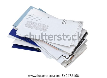 letter mails pile isolated