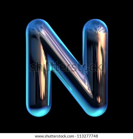 Letter N from chrome blue sunset alphabet - stock photo