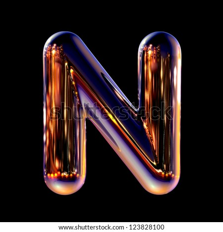 Letter N from chrome night city alphabet isolated on black - stock photo