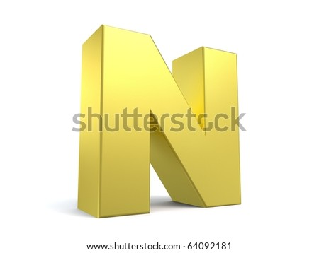 letter N from my golden collection - stock photo