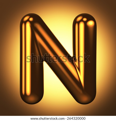 Letter N from round pure gold alphabet. There is a clipping path. The background is presented as an example. It can be replaced - stock photo