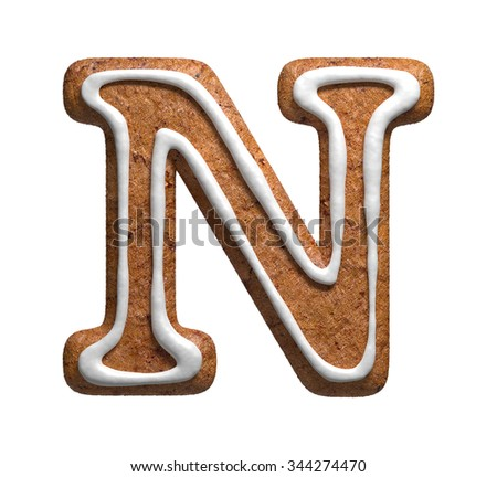 Letter N. Gingerbread font. Christmas cookies alphabet. - stock photo