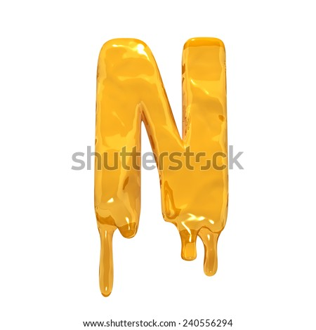 Letter N. Honey alphabet isolated over white. Orange liquid splash alphabet. - stock photo