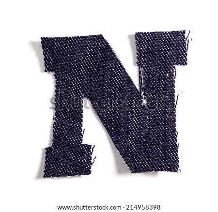 Letter N. Jeans alphabet Isolated on White. Handmade font. - stock photo