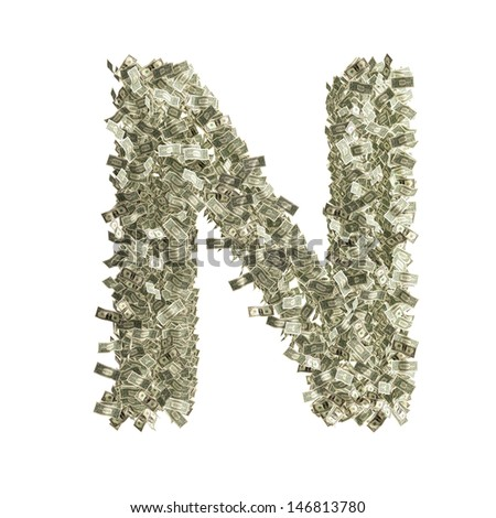 Letter N made from Dollar bills - stock photo