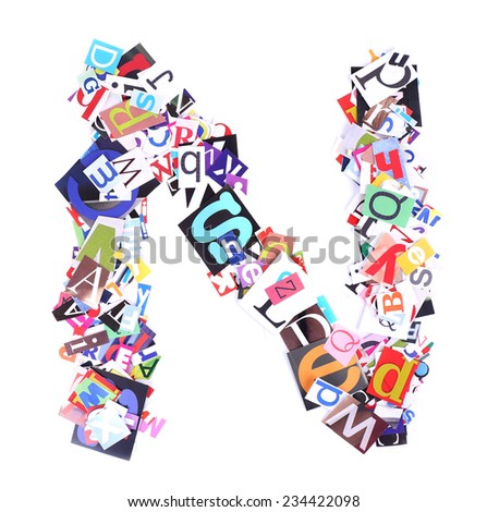 Letter N made of colorful newspaper letters isolated on white - stock photo