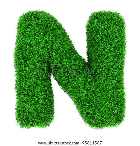 Letter N, made of grass isolated on white background. - stock photo