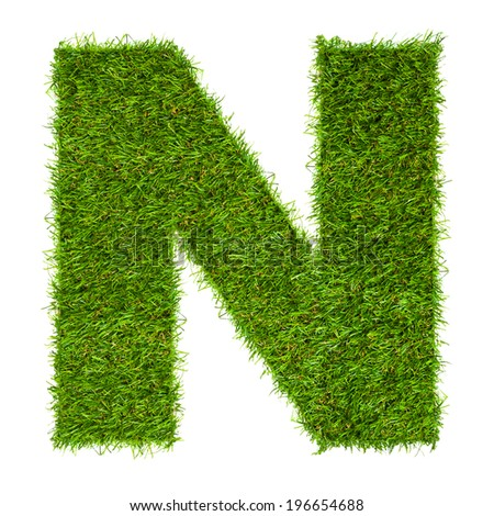 Letter N made of green grass isolated on white - stock photo