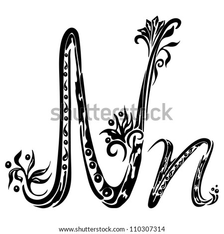 Letter N n in the style of abstract floral pattern on a white background - stock photo