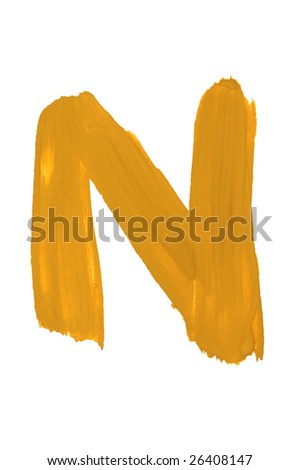 Letter N  painted on the white background