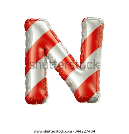 Letter N. Red and white Balloon font isolated on White Background.Birthday alphabet. - stock photo