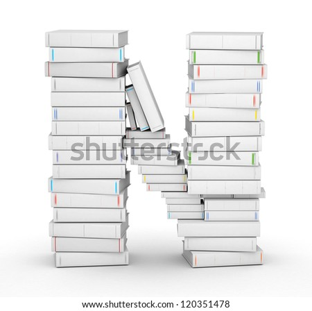Letter N, stacked from many blank title books in column - stock photo