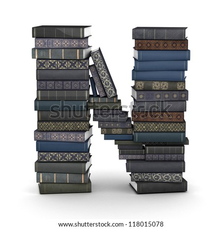 Letter N, stacked from many  books in pile - stock photo