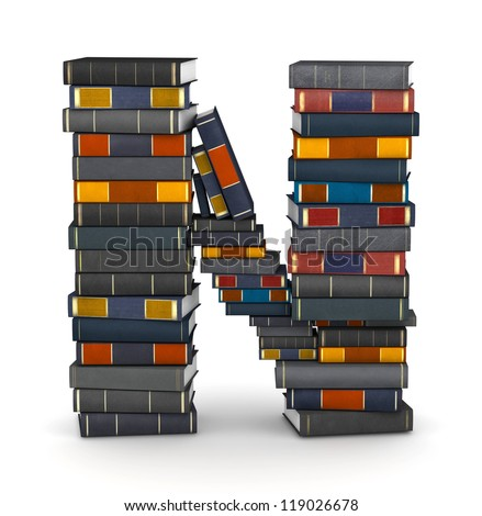 Letter N, stacked from many encyclopedia books in pile - stock photo