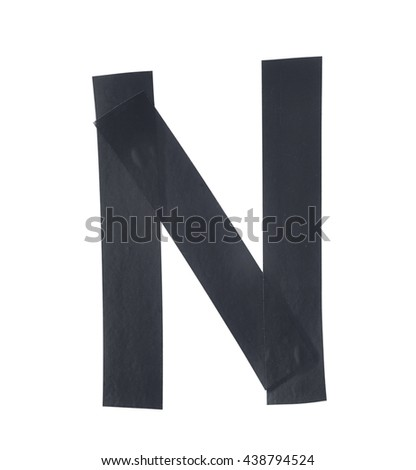 Letter N symbol made of insulating tape pieces, isolated over the white background - stock photo