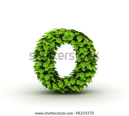 Letter  o, alphabet of green leaves, small caps - stock photo