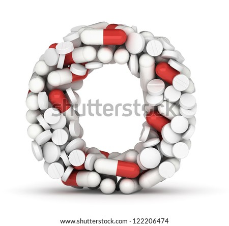 Letter O, alphabet of medicine pills - stock photo