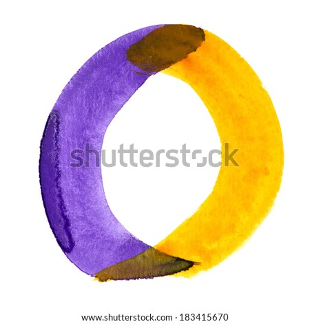 Letter O - colorful watercolor alphabet - stock photo