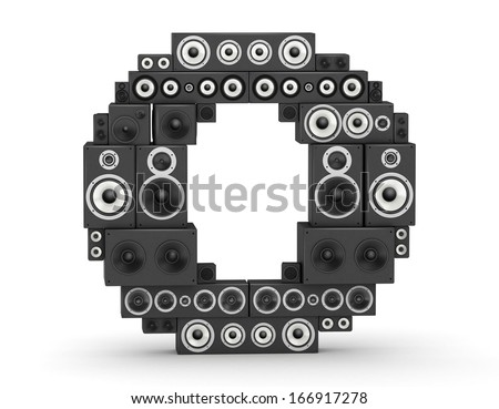 Letter O from black hi-fi speakers sound systems - stock photo