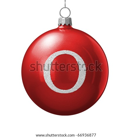 Letter O from cristmas ball alphabet. There is a clipping path - stock photo