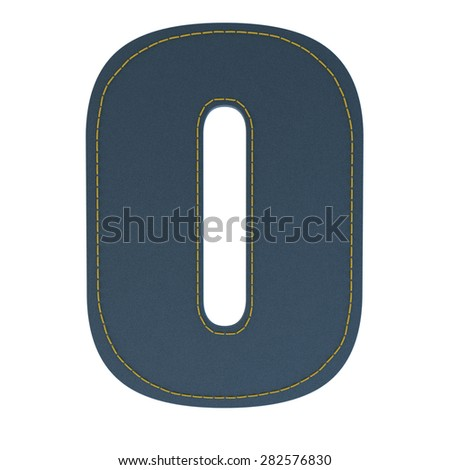 letter o from denim - jeans, on a white background, high specification of fabric, it is stitched by the yellow high-detailed threads - stock photo