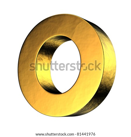 Letter O from gold solid alphabet. There is a clipping path - stock photo