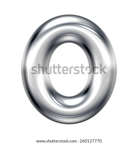 Letter O from round chrome alphabet. There is a clipping path - stock photo