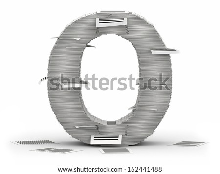 Letter O, from stacks of paper pages font - stock photo