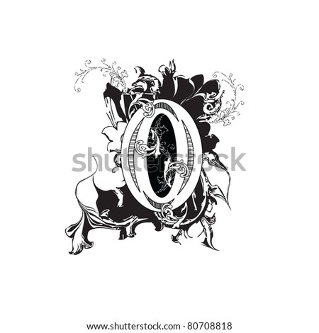 Letter O Ornate Black and White - stock photo