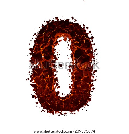Letter O. Red burning fire alphabet isolated on white background. - stock photo