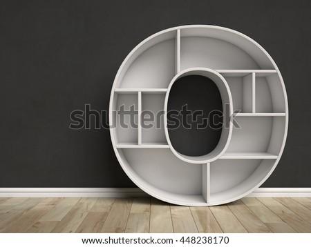 Letter O shaped shelves 3d rendering - stock photo