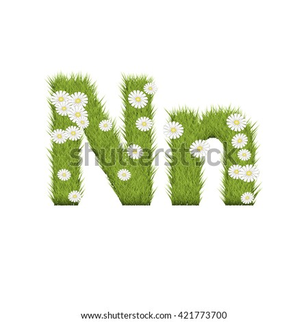 Letter of green grass alphabet on white background. Green grass eco font for nature,organic,ecology,environment,health,spring and summer. 3d illustration.
