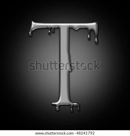 letter of liquid metal alphabet - stock photo