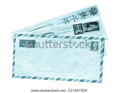 Letter or small packet envelope - cool cyanotype - stock photo