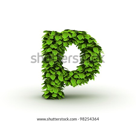 Letter  p, alphabet of green leaves, small caps - stock photo