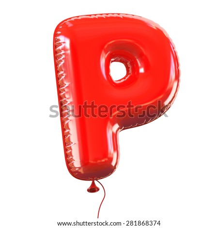 letter P balloon font - stock photo
