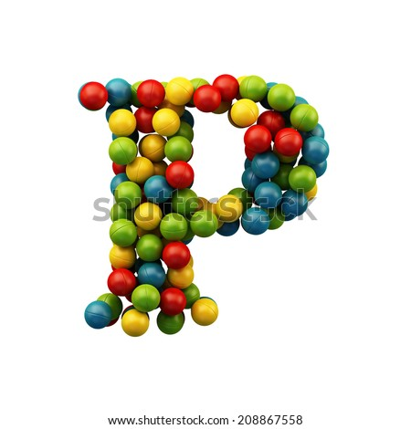 Letter P. Colour plastic balls font isolated on white background. Children's playground alphabet. - stock photo