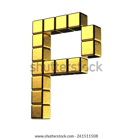 Letter P from big cube gold perspective alphabet. There is a clipping path - stock photo