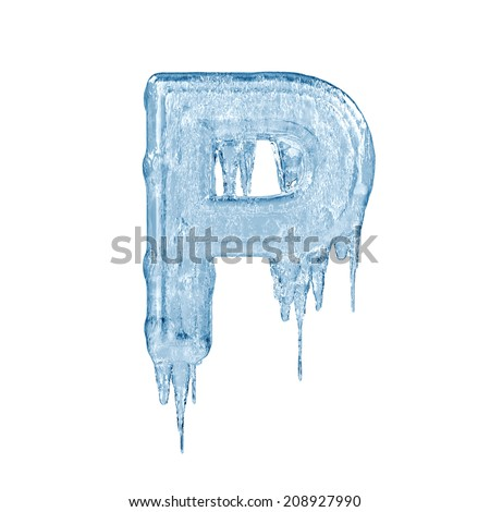 Letter P. Ice font isolated on white background. Alphabet. - stock photo