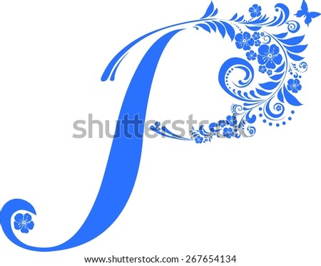 Letter  P  isolated on white. Romantic letter of beautiful flowers. Floral Alphabet. Illustration - stock photo