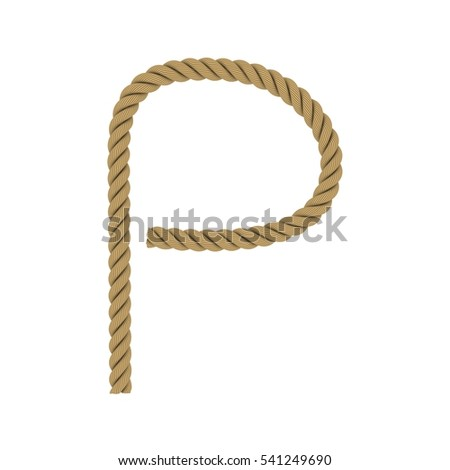 Letter P made from Rope Isolated on White 3D Illustration