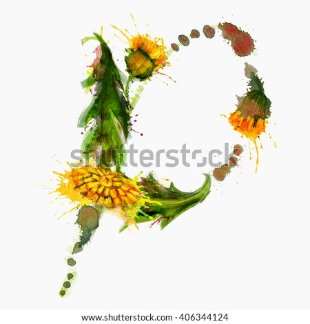 Letter P made of Dandelion flowers - stock photo