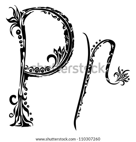 Letter P p in the style of abstract floral pattern on a white background - stock photo