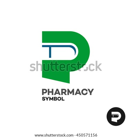 Letter P Pharmacy Medicine Logo Medicament Stock Illustration
