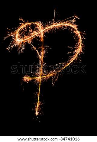 Letter P. Real sparkler alphabet - stock photo