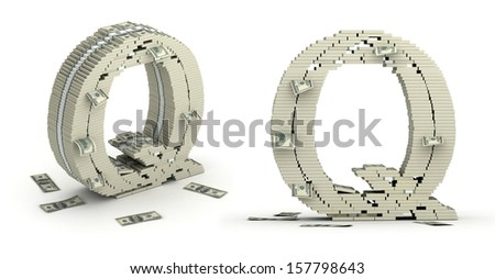 Letter Q, alphabet from dollars on white background