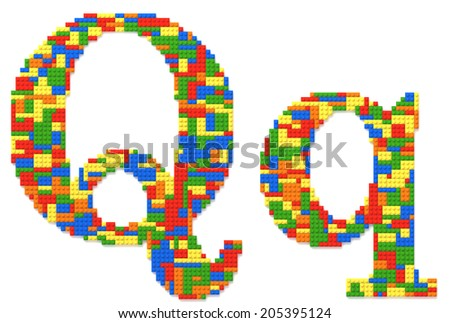 Letter Q built from random colors toy bricks - stock photo